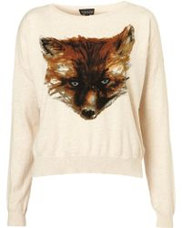 Topshop Knitted Painted Fox Jumper - Lyst