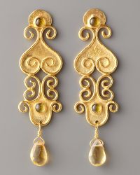 Stephanie Anne Textured Gold & Citrine Drop Earrings gold - Lyst