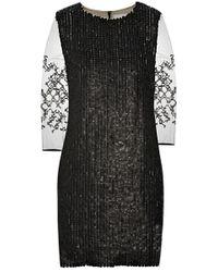 3.1 Phillip Lim Mesh-Sleeved Leather Paillette Dress - Lyst
