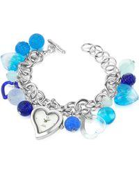 Antica Murrina Stardust - Murano Glass Heart Charm Bracelet Watch - Blue
