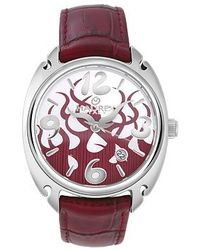 Haurex - Flame Womens Red Leather Date Watch - Lyst