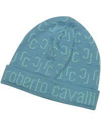 Roberto Cavalli All Over Logo Brim Knit Wool Skull Cap - Lyst