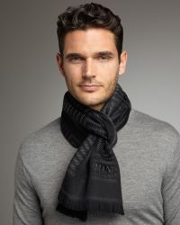 Armani - Herringbone Wool Scarf - Lyst