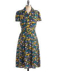 ModCloth Retro Revamp Dress blue - Lyst