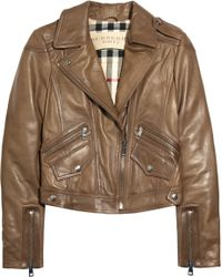 Burberry Brit - Cropped Moto Leather Jacket - Lyst