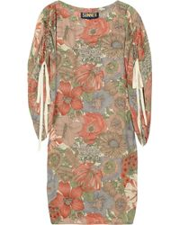 Sunner Cocoon Printed Floral Silk Dress - Natural