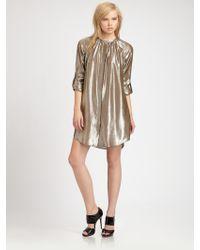 10 Crosby Derek Lam Silk Lame Shirt Dress - Lyst