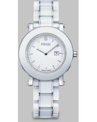 Fendi Diamond Ceramic Watchwhite white - Lyst