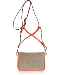 Theyskens' Theory Anen Patent-leather and Canvas Shoulder Bag - Natural