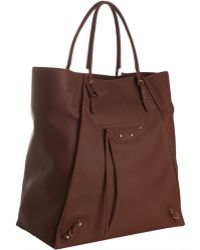Balenciaga Chestnut Leather Papier Tote - Lyst
