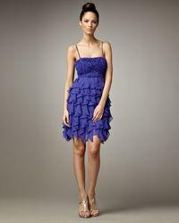 Sue Wong Ruffle-skirt Cocktail Dress - Lyst