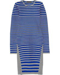 Alexander Wang Striped Stretch-fleece and Satin-twill Dress - Lyst