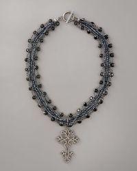Wendy Brigode - Diamond Cross Necklace - Lyst