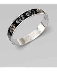 Alexander McQueen Enamel Skull Small Bangle Bracelet - Lyst