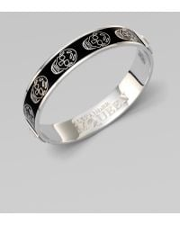 Alexander McQueen Enamel Skull Small Bangle Bracelet silver - Lyst