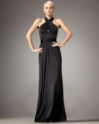 Halston Heritage Twisted Halter Gown - Lyst