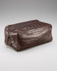 Santiago Gonzalez Zip-top Crocodile Toiletry Bag, Brown