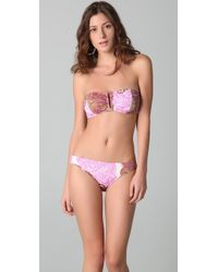 Tibi - Painted Paisley Bandeau Bikini Top - Lyst