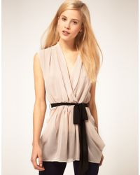 ASOS Collection   Asos Sexy Wrap Top with Contrast Belt   Lyst