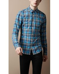 Burberry Brit - Crinkled Cotton Check Shirt - Lyst
