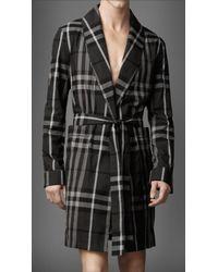 Burberry Beat Check Cotton Robe gray - Lyst
