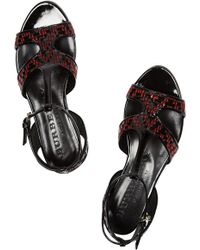 Burberry Prorsum - Patent-leather and Raffia-effect Sandals - Lyst