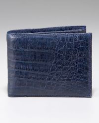 Santiago Gonzalez Crocodile Wallet, Navy - Blue
