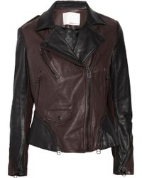 3.1 Phillip Lim Two-tone Leather Motocross Jacket - Lyst