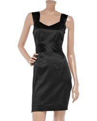 Sunner Delancey Bow-Backed Satin Dress - Black