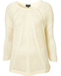 Topshop Knitted Mulity Stitch Jumper - Lyst