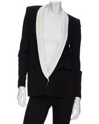 Yigal Azrouël Leather Insert Tuxedo Blazer black - Lyst
