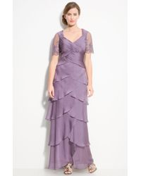 Adrianna Papell Lace Sleeve Tiered Chiffon Gown - Lyst