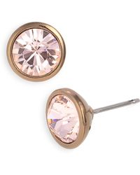 Givenchy Crystal Stud Earrings brown - Lyst