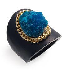 Liz Larios Jewelry Cavansite & Wood Saddle Ring - Lyst