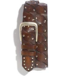 Mezlan Studded Calfskin Leather Belt - Lyst