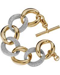 Michael Kors Pave Link Bracelet, Golden - Lyst
