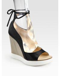Jil Sander Leather Mixed-Media Wedge Sandals - Black