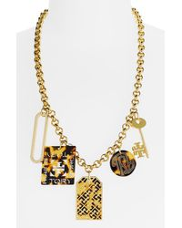 Tory Burch Luggage Tag Charm Necklace - Lyst