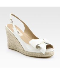 Valentino Mena Patent Leather Espadrille Wedge Bow Sandals - Lyst