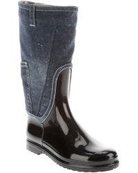 Dolce & Gabbana Rubber and Denim Boot - Blue