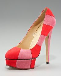 Charlotte Olympia Striped Suede Platform Pump - Lyst