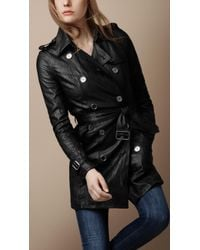 Burberry Brit Soft Leather Trench Coat - Lyst