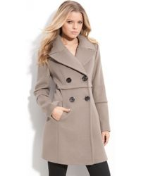 Elie Tahari Double Breasted Coat - Lyst