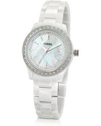 Fossil - Slim White Watch - Lyst