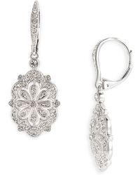 Nadri Filigree Flower Drop Earrings - Lyst