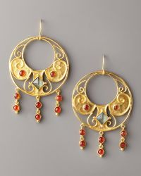 Stephanie Anne Round Antiquity Earrings gold - Lyst