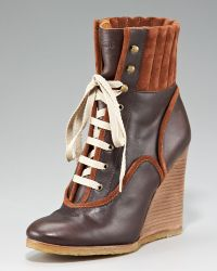 Chloé Lace-up Wedge Bootie - Brown