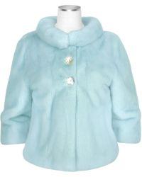 Forzieri Light Blue Mink Fur Two-Button Jacket - Lyst