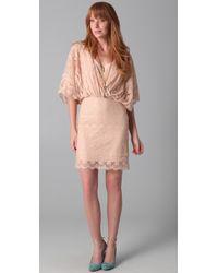 Beyond Vintage - Lace Batwing Mini Dress - Lyst