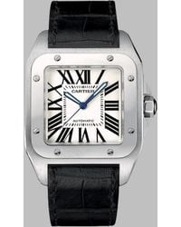 Cartier Santos 100 Stainless Steel & Alligator Large Automatic Strap Watch - Lyst